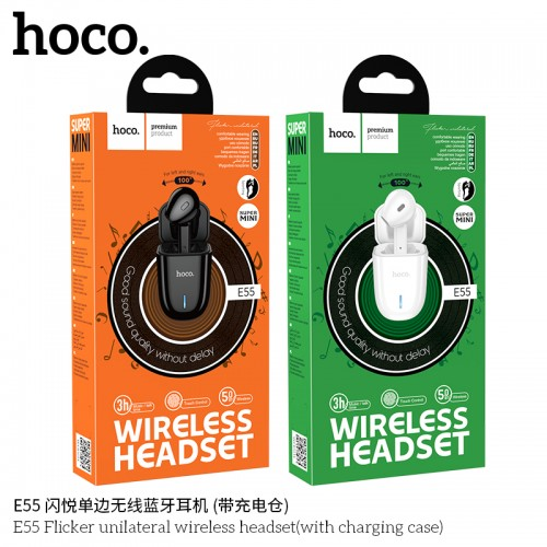 E55 Flicker Unilateral Wireless Headset (With Charging Case)