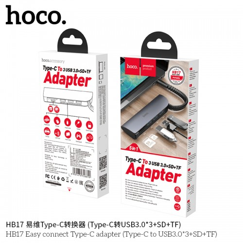 HB17 Easy Connect Type-C Adapter (Type-C to USB3.0*3+SD+TF)