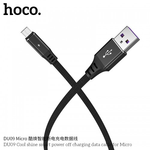 DU09 Cool Shine Smart Power Off Charging Data Cable For Micro