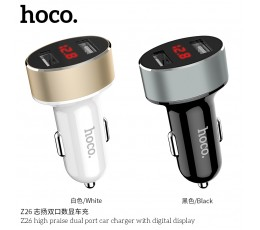 Z26 High Praise Dual-port Car Charger with Digital Display
