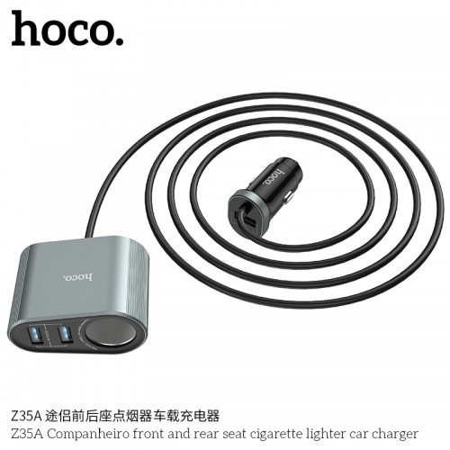 Z35A Companheiro Front And Rear Seat Cigarette Lighter Car Charger