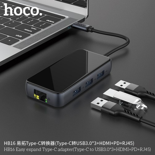 HB16 Easy Expand Type-C Adapter (Type-C to USB3.0*3+HDMI+PD+RJ45)