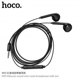 M55 Memory Sound Wire Control Earphones With Mic