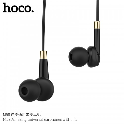 M58 Amazing Universal Earphones With Mic - Black