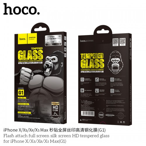 Flash Attach Full Screen Silk Screen HD Tempered Glass for iPhone X/XS(G1)